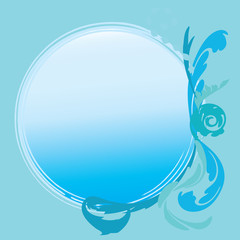 abstract blue flower with space for text on blue background