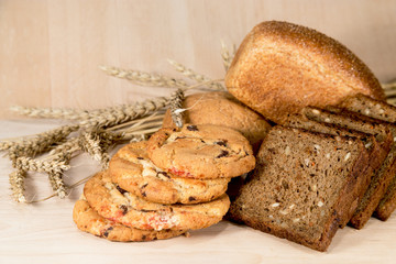 White black bread and cookies with grain