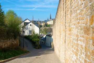 Oldl cobblestone street in Luxembourg city