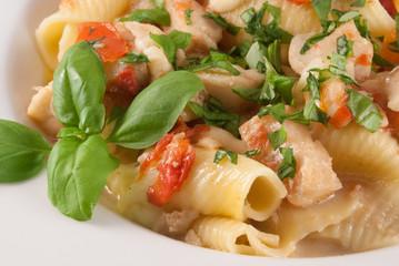 Kabeljau-Tomaten-Ragout mit Mozzarella auf Conchiglioni