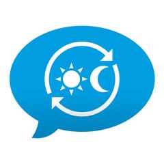 Etiqueta tipo app azul comentario simbolo 24 horas