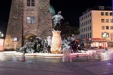 View Marriage Merry-go-round Fountain at night in Nuremberg