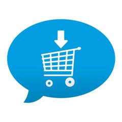 Etiqueta tipo app azul comentario simbolo add to cart