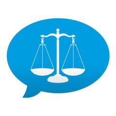 Etiqueta tipo app azul comentario simbolo aviso legal