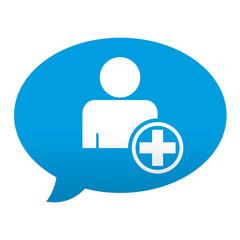 Etiqueta tipo app azul comentario simbolo añadir usuario