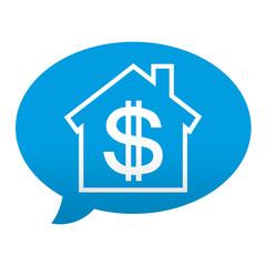 Etiqueta tipo app azul comentario simbolo banco