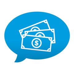 Etiqueta tipo app azul comentario simbolo billetes