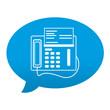 Etiqueta tipo app azul comentario simbolo fax
