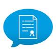 Etiqueta tipo app azul comentario simbolo garantia