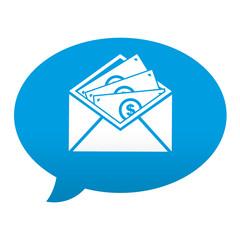 Etiqueta tipo app azul comentario simbolo envio de dinero