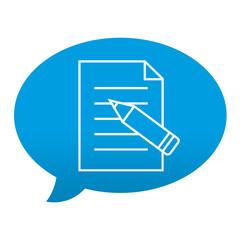 Etiqueta tipo app azul comentario simbolo editar documento