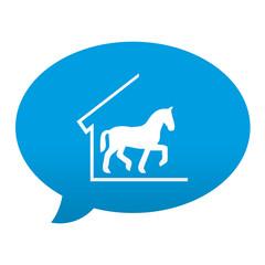 Etiqueta tipo app azul comentario simbolo cuadra