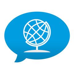 Etiqueta tipo app azul comentario simbolo geografia