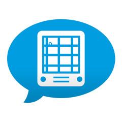 Etiqueta tipo app azul comentario simbolo GPS