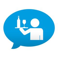 Etiqueta tipo app azul comentario simbolo camarero