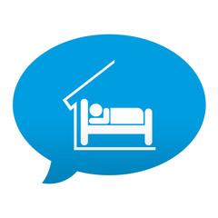 Etiqueta tipo app azul comentario simbolo hotel