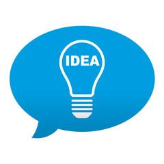 Etiqueta tipo app azul comentario simbolo idea