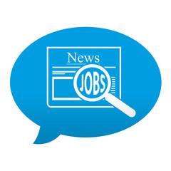 Etiqueta tipo app azul comentario simbolo busqueda de empleo