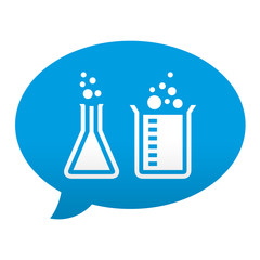 Etiqueta tipo app azul comentario simbolo laboratorio