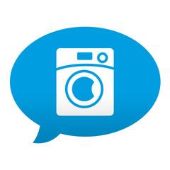 Etiqueta tipo app azul comentario simbolo lavadora