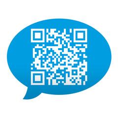 Etiqueta tipo app azul comentario simbolo QR