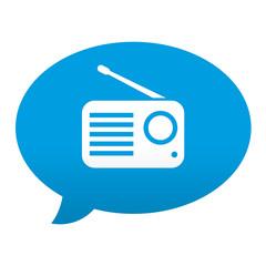 Etiqueta tipo app azul comentario simbolo receptor de radio
