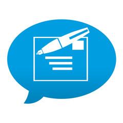 Etiqueta tipo app azul comentario simbolo redactar mensaje
