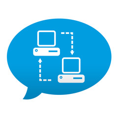 Etiqueta tipo app azul comentario simbolo remote support