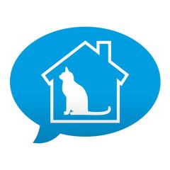 Etiqueta tipo app azul comentario simbolo residencia felina