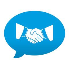 Etiqueta tipo app azul comentario simbolo saludo