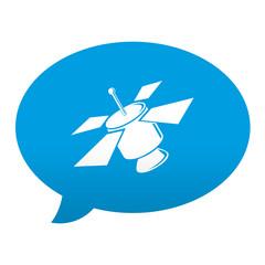 Etiqueta tipo app azul comentario simbolo satelite