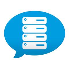 Etiqueta tipo app azul comentario simbolo servidor