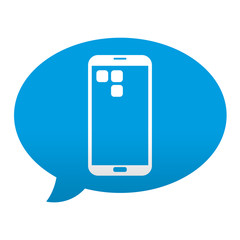 Etiqueta tipo app azul comentario simbolo smartphone