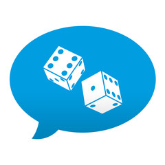 Etiqueta tipo app azul comentario simbolo dados