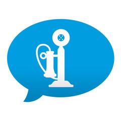 Etiqueta tipo app azul comentario simbolo telefono antiguo
