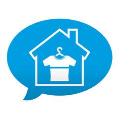 Etiqueta tipo app azul comentario simbolo tienda de ropa