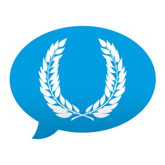 Etiqueta tipo app azul comentario simbolo corona de laurel