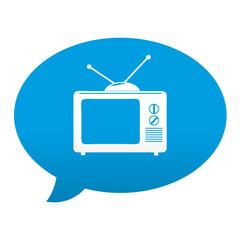 Etiqueta tipo app azul comentario simbolo tv