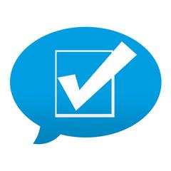 Etiqueta tipo app azul comentario simbolo verificacion