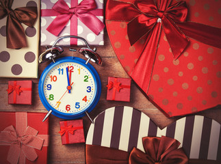Vintage clock on christmas background