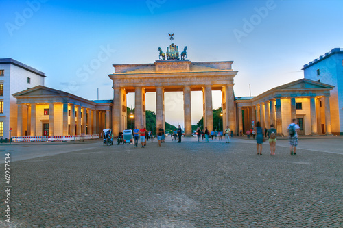 canvas print picture Brandenburg gate at evening, Berlin, Germany.