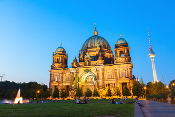 Berlin Cathedral church Berliner Dom and TV tower Fernsehturm