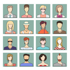 Set icons of different flat faces of young people