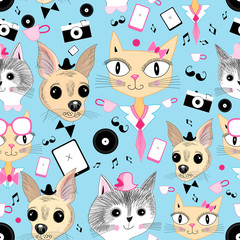 retro pattern with pictures of animals