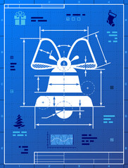 Bell symbol like blueprint drawing. Vector concept