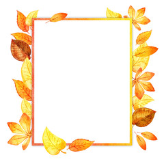 watercolor leaves square frame. paper