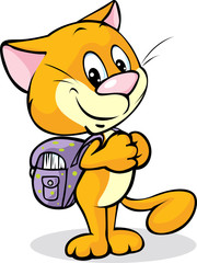 cat with school bag standing isolated on white background