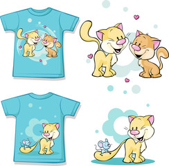kid shirt with cute cat in love printed - isolated on white