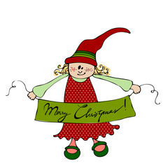 cute illustrated Christmas elf