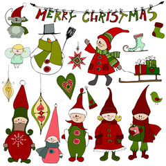 cute Christmas elements and elves